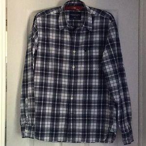 American Eagle navy plaid shirt